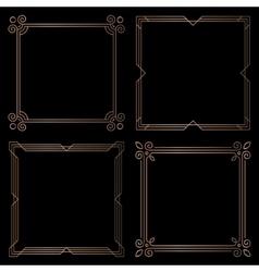 golden geometric square frames design elements vector image