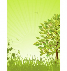 Green tranquil background and tree vector