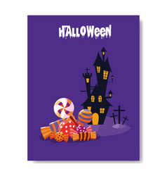 Halloween card with haunted castle vector