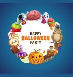 Halloween pumpkin trick or treat candies ghost vector