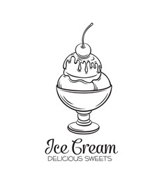 Hand drawn ice cream balls vector
