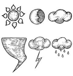 Hand drawn weather good and bad meteorology vector