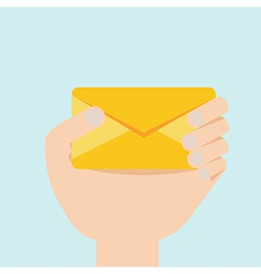 hand with envelop flat design vector image