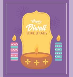 happy diwali festival diya lamp and burning vector image
