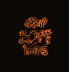 Happy new year 2017 isolated text and numbers on vector