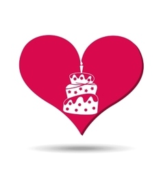 heart red cartoon cake candle icon design vector image vector image