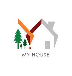 home and trees logo for property or housing vector image