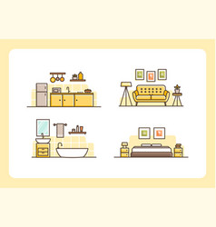 Home collection line art design template vector