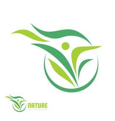 human character - nature green leaves - logo vector image