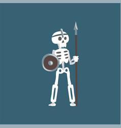 human skeleton warrior standing with spear and vector image