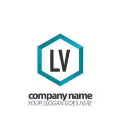 initial letter lv hexagon box creative logo black vector image