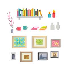 interior design stylish decorative elements set vector image