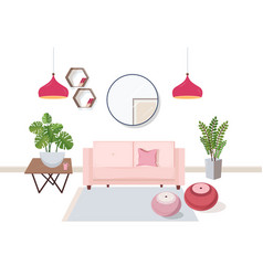 Interior of living room full of comfortable vector