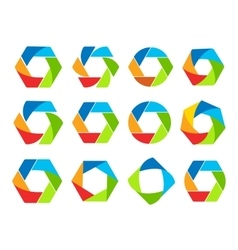 isolated abstract colorful hexagon and round shape vector image