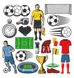 items of football or soccer sport vector image