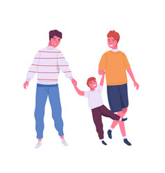 Joyful homosexual family having fun flat vector