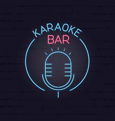 Karaoke neon signboard retro sign for vector