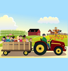Kids going on a hayride in a farm with corn vector