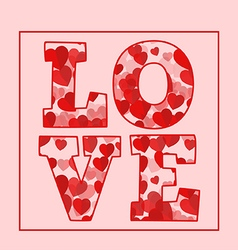 Love text word with red hearts vector