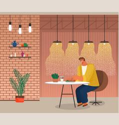 Man eat salad in restaurant alone cafe interior vector