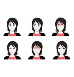 Masked girl set cartoon anime style vector