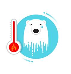 Melting polar bear - global warming may vector