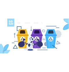 Modern robot putting garbage bags in different vector