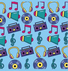 Music megaphone boombox vinyl note background vector