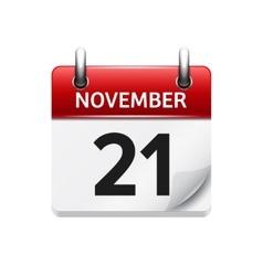 November 21 flat daily calendar icon vector