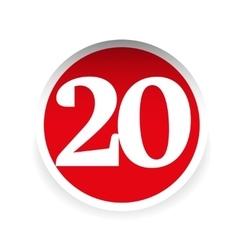 Number twenty red label vector