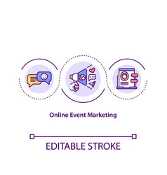 Online event marketing concept icon vector