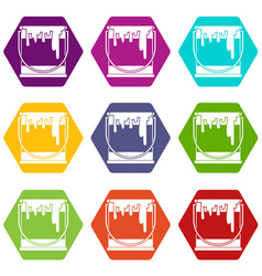paint can icon set color hexahedron vector image