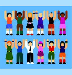 people rising their hands up vector image