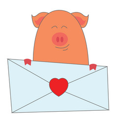 piggy holding a letter on white background vector image