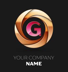 Pink letter g logo symbol in golden circle shape vector