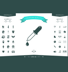 pipette icon with drop vector image
