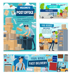 post office worker mail delivery courier staff vector image