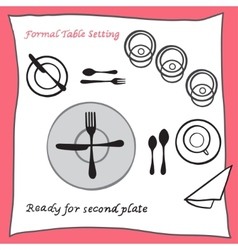 Ready for second plate Dining table setting vector image
