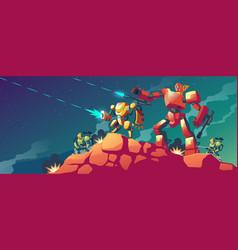 Robot war on alien planet mars vector