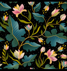 Seamless pattern with beautiful fantastic plants vector