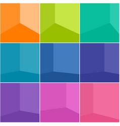 Set empty colorful corner room vector