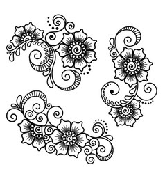 Set floral abstract element in indian style mehndi vector