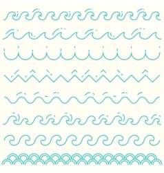 Set linear waves blue wave line pattern vector image
