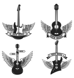 Set of labels with guitars and wings rock music vector