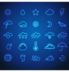 Set of Neon Stroke Weather Icons vector image