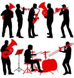 set silhouette of musician playing the trombone vector image