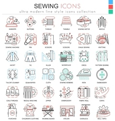 Sewing color line outline icons for apps vector image