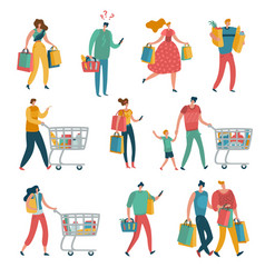 shopping people set man woman shop family cart vector image