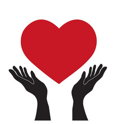 simple flat black hands holding red heart icon vector image