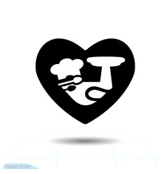 Simple heart black icon love symbol the cook in vector